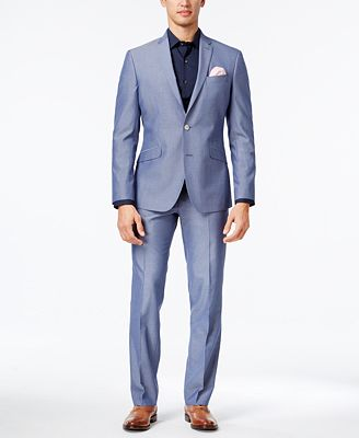 Kenneth Cole Reaction Men's Slim-Fit Light Blue Micro-Grid Suit ...