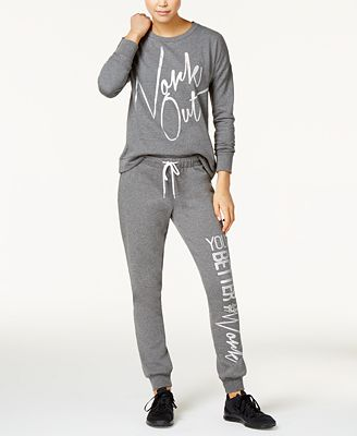 Material Girl Active Juniors' Cutout Graphic Top & Sweatpants, Only at Macy's