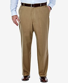 Men's Big & Tall Premium No Iron Khaki Classic Fit Flat Front Hidden Expandable Waistband Pants