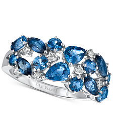 Le Vian Precious Collection® Sapphire (2-1/5 ct. t.w.) and Diamond (1/7 ct. t.w.) Ring in 14k White Gold, Created for Macy's
