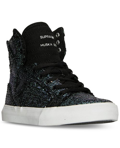 7b352b41681d ... SUPRA Big Girls  Skytop Sequin High-Top Casual Sneakers from Finish ...