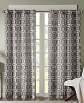 Madison Park Zafar Texture Fret-Print Window Panels - Easy Care Linen Look!