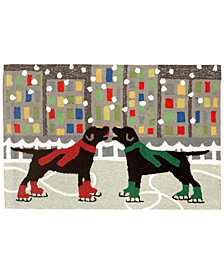 "Liora Manne Front Porch Indoor/Outdoor Holiday Ice Dogs Multi 2'3"" x 6' Runner Rug"