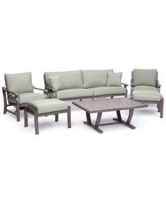 Tara Aluminum Outdoor 6-Pc. Seating Set (1 Sofa, 1 Club Chair, 1 Inside Rocker Chair, 1 Coffee Table & 2 Ottomans), Created for Macy's