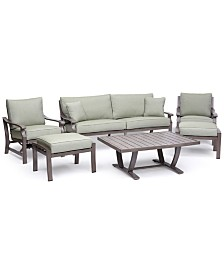 Tara Aluminum Outdoor 6-Pc. Seating Set (1 Sofa, 1 Club Chair, 1 Rocker Chair, 1 Coffee Table & 2 Ottomans), Created for Macy's