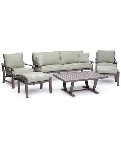 Tara Aluminum Outdoor 6-Pc. Seating Set (1 Sofa, 1 Club Chair, 1 Inside Rocker Chair, 1 Coffee Table & 2 Ottomans), Created for Macy's