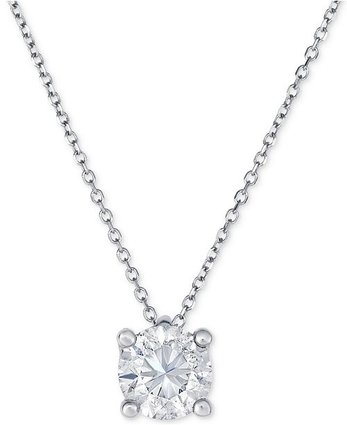 Macys diamond pendant necklace 1 ct tw in 14k white gold main image aloadofball Gallery