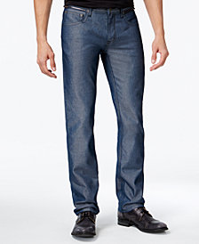 I.N.C. Men's Slim Straight Fit Navy Chambray Jeans, Created for Macy's