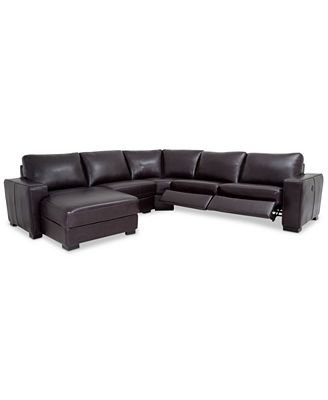 Adken 5 Pc Leather Sectional Sofa with Chaise & 2 Power Recliners Furniture Macy s