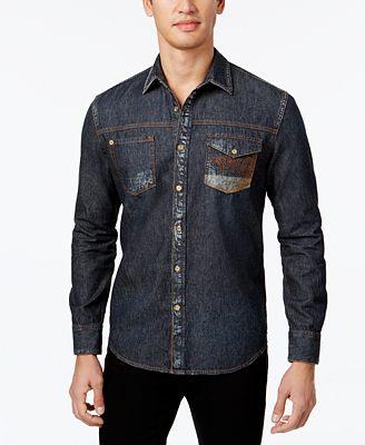 Sean John Men's Contrast Embroidery Denim Shirt, Created for ...