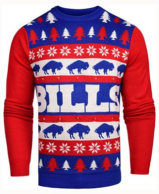 Forever Collectibles Mens Buffalo Bills Light Up Ugly Crew Neck