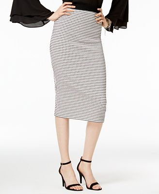 Alfani Petite Gingham Midi Pencil Skirt, Created for Macy's