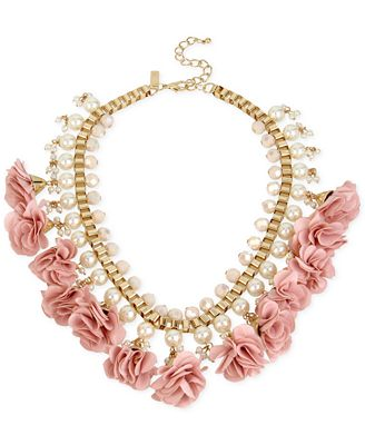 M. Haskell for INC International Concepts Gold-Tone Imitation Pearl and Flower Statement Necklace, Only at Macy's