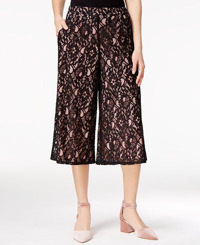 SHIFT Juniors' Lace Gaucho Pants, Only at Macy's - Juniors - Macy's