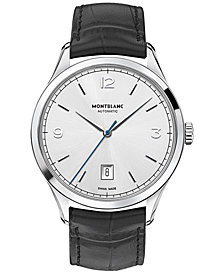 Montblanc Men's Swiss Automatic Heritage Chronometrie Black Leather Strap Watch 40mm 112533
