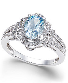 Aquamarine (9/10 ct. t.w.) and Diamond (1/3 ct. t.w.) Ring in 14k White Gold