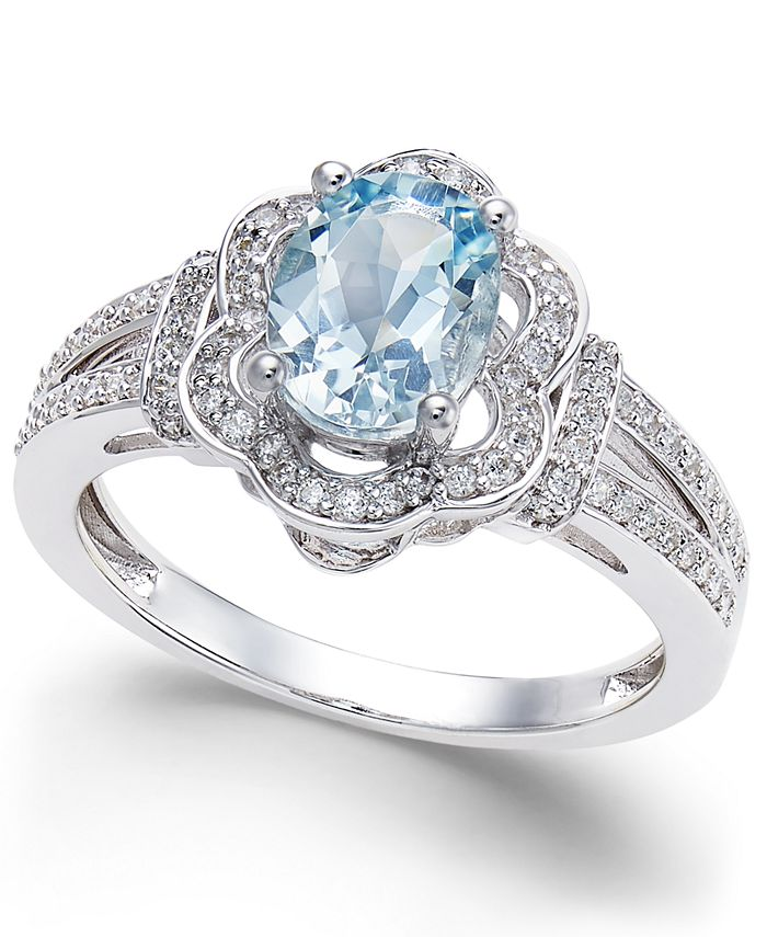 Macy's - Aquamarine (9/10 ct. t.w.) and Diamond (1/3 ct. t.w.) Ring in 14k White Gold