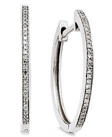 Diamond Hoop Earrings (1/10 ct. t.w.) in 14k White Gold