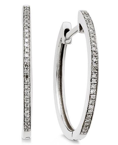 Diamond Hoop Earrings (1/10 ct. t.w.) in 14k White Gold