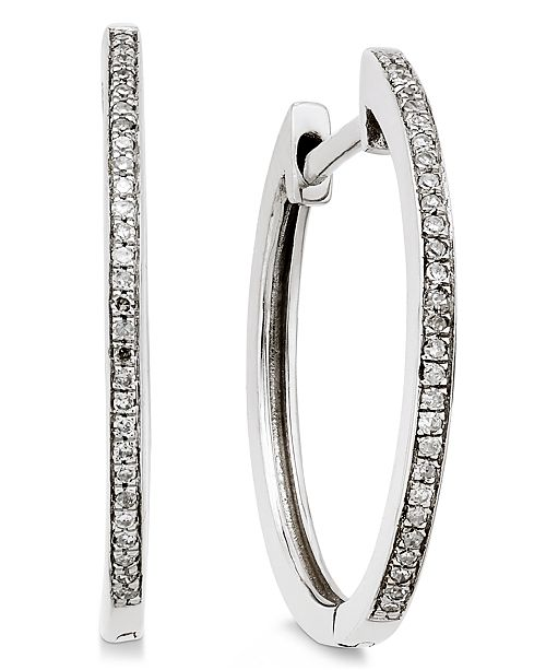 Macy's Diamond Hoop Earrings (1/10 ct. t.w.) in 14k White Gold