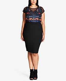 City Chic Plus Size Trendy Vintage Pencil Skirt
