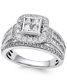 Diamond Quad Cluster Engagement Ring (1-1/2 ct. t.w.) in 14k White Gold