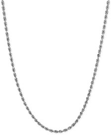 Long Polished Diamond-Cut Rope Chain Necklace in 14k White Gold