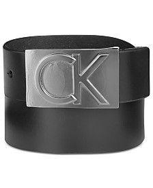 Calvin Klein Men's Leather Logo Plaque Belt