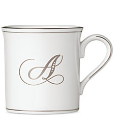 Lenox Federal Platinum Monogram Mug, Script Letters