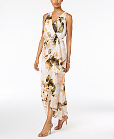 Sangria Chiffon Floral Faux-Wrap Maxi Dress