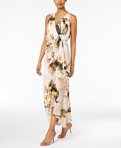 Sangria Chiffon Floral Faux Wrap Maxi Dress Dresses