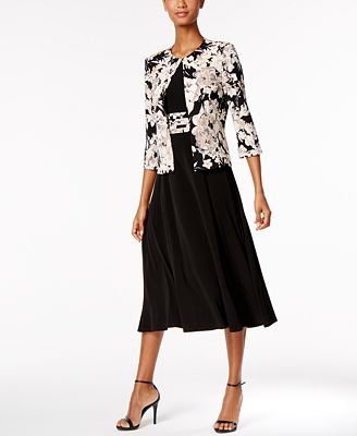 Jessica Howard Petite Empire-Waist Dress & Printed Jacket ...