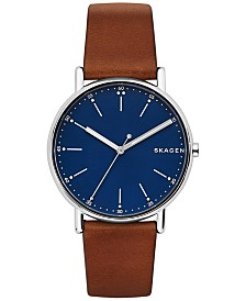 Skagen Men's Signatur Brown Leather Strap Watch 40mm SKW6355
