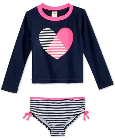 Oshkosh B'Gosh 2-Pc. Heart & Stripes Rashguard Swimsuit, Toddler & Little Girls (2T-6X)