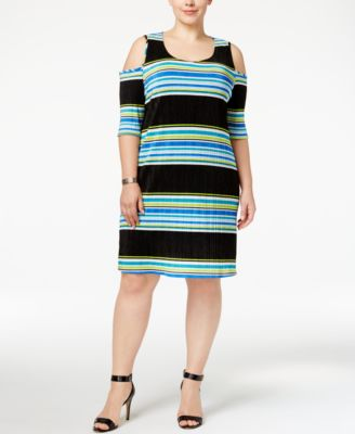 NY Collection Plus Size Striped Cold-Shoulder Bodycon Dress