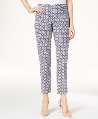 Image of Charter Club Iconic Print Side Zip Slim Ankle Pant, Created for Macy's