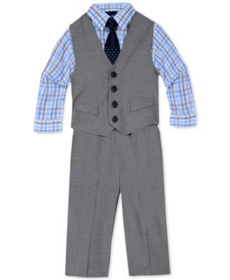 4-Pc. Sharkskin Vest Set, Baby Boys