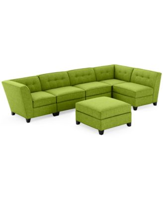 Harper Fabric 6- Piece Modular Sectional Sofa with Ottoman - Custom Colors Created for  sc 1 st  Macyu0027s : green sectional couch - Sectionals, Sofas & Couches