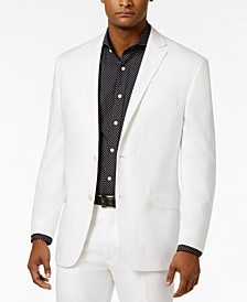 Men's Classic-Fit White Linen Suit Jacket