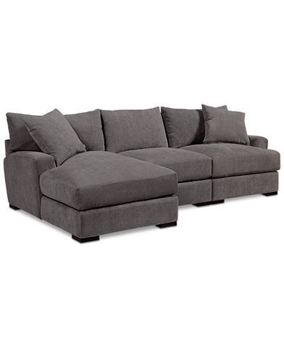 Rhyder 3 Pc Fabric Sectional With Chaise Created For