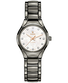 Rado Women's Swiss Automatic True Diamond (1/10 ct. t.w.) Plasma Ceramic Bracelet Watch 30mm R27243902