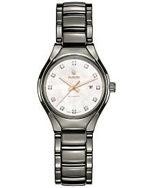 Rado Women's Swiss Automatic True Diamond (1/10 ct. t.w.) Plasma Ceramic Bracelet Watch 30mm R27243902