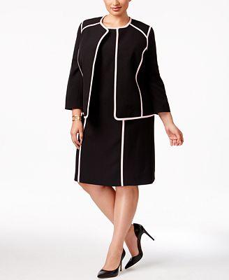 Kasper Plus Size Contrast-Trim Blazer & Sheath Dress