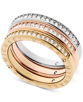 Michael Kors TriTone 3Pc Set Pav Rings Jewelry Watches Macys