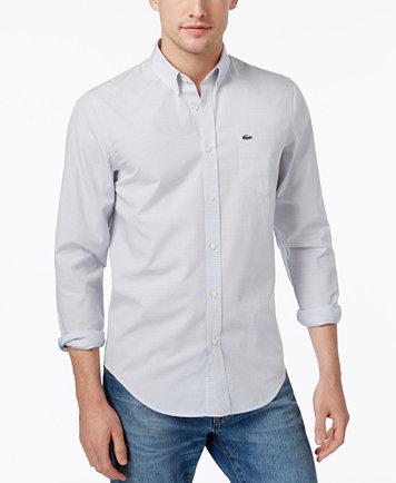 Lacoste Men's Grid-Pattern Cotton Shirt - Casual Button-Down ...