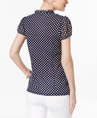 Inc International Concepts I N C Ruffled Polka Dot Blouse Created