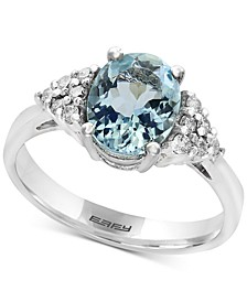 EFFY® Aquarius Aquamarine (1-3/4 ct. t.w.) and Diamond (1/6 ct. t.w.) Ring in 14k White Gold