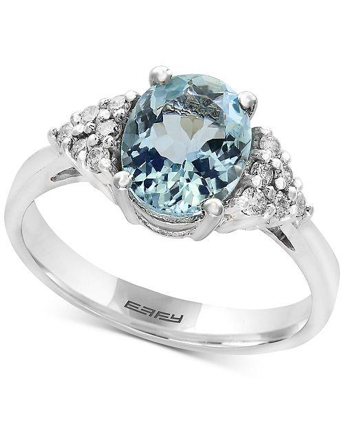EFFY Collection EFFY® Aquarius Aquamarine (1-3/4 ct. t.w.) and Diamond (1/6 ct. t.w.) Ring in 14k White Gold