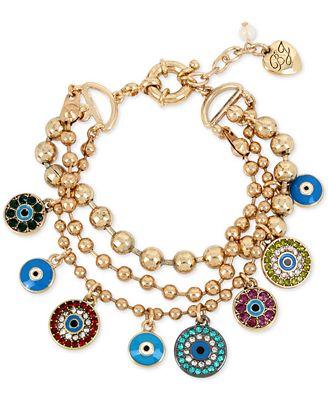 Betsey Johnson Gold-Tone Multi-Charm Triple Row Bracelet