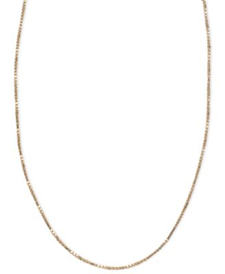 "14k Pink Gold Necklace, 16-20"" Box Chain (5/8mm)"